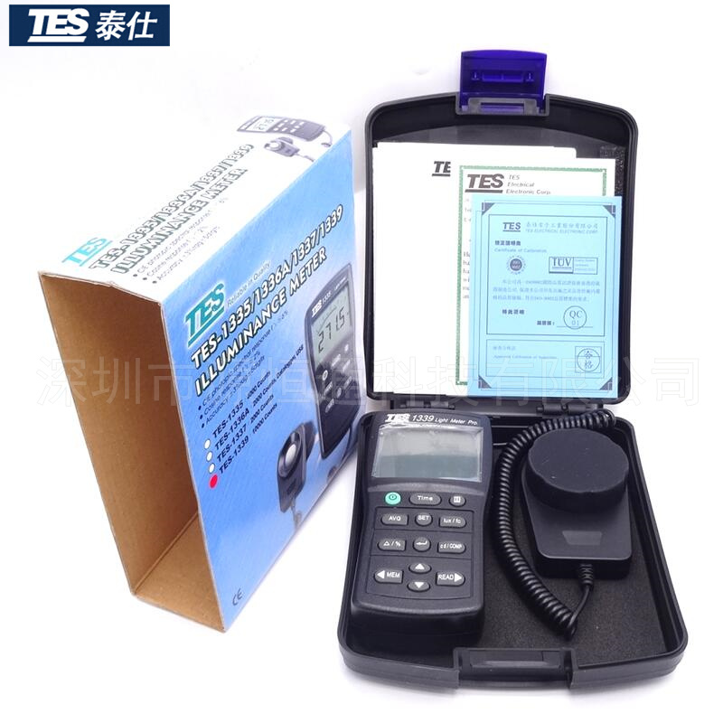 台湾泰仕数显式TES-1339照度计 光度计 高精度测光仪TES-1339R