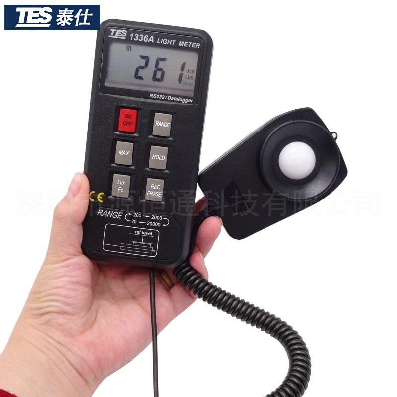 台湾泰仕光度计 TES-1336A照度仪光照度计可接电脑 便携式照度仪