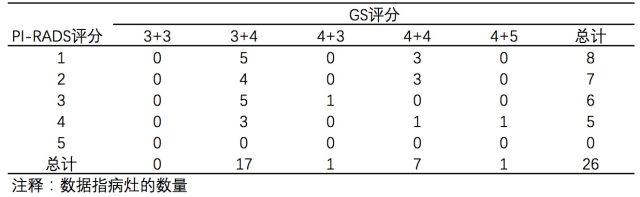 表三 MP-MRI 漏诊的病灶PI-RADS评分与GS评分.png