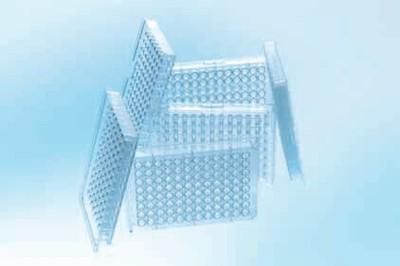 655180,96孔细胞培养微孔板,聚苯乙烯,F型底烟囱形,TC处理,透明色,灭菌,带盖,100块