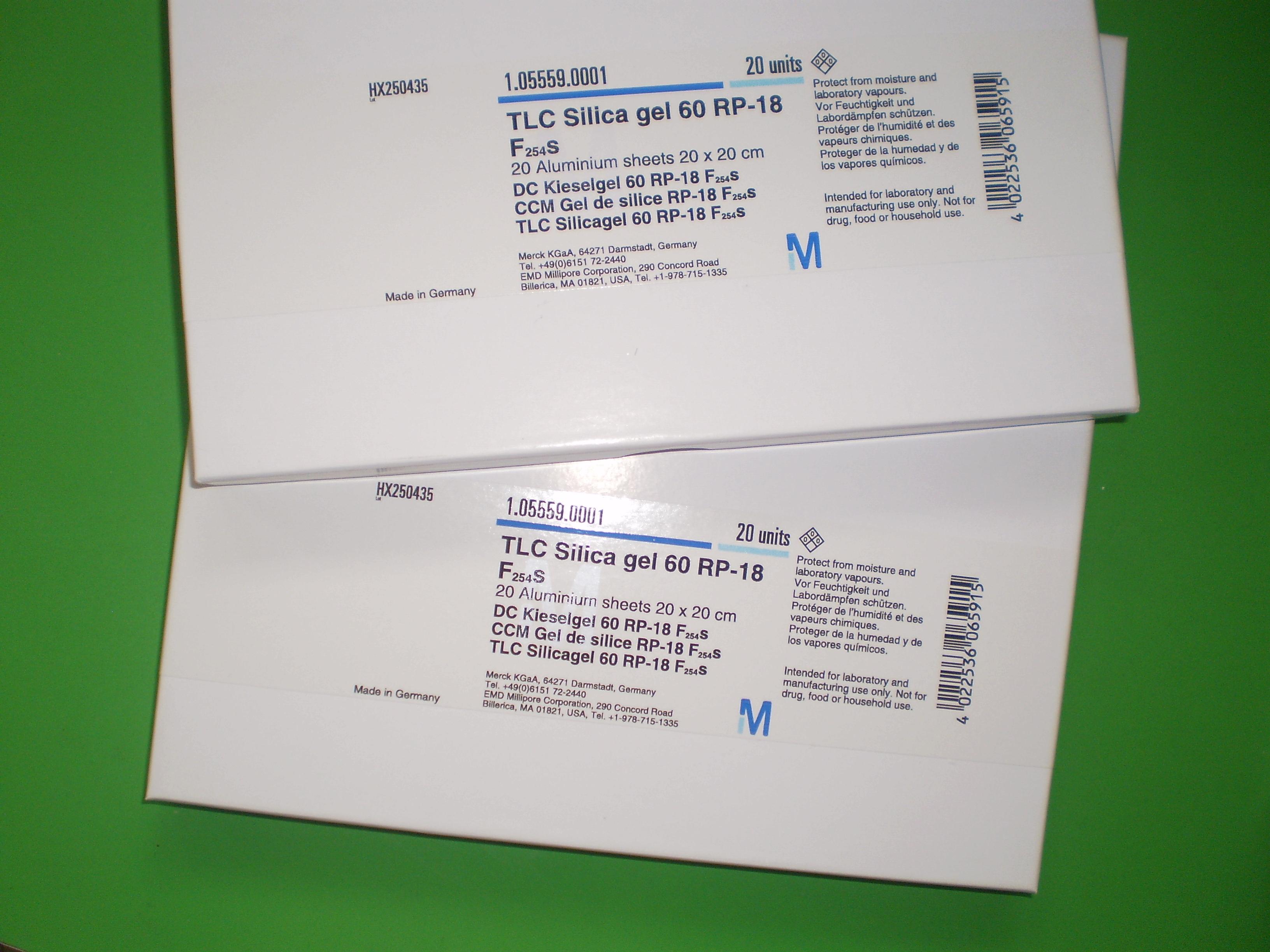 默克硅胶薄层板1.05724.0001 TLC Silica gel 60 5 x 20 cm 玻璃 100片,5盒现货