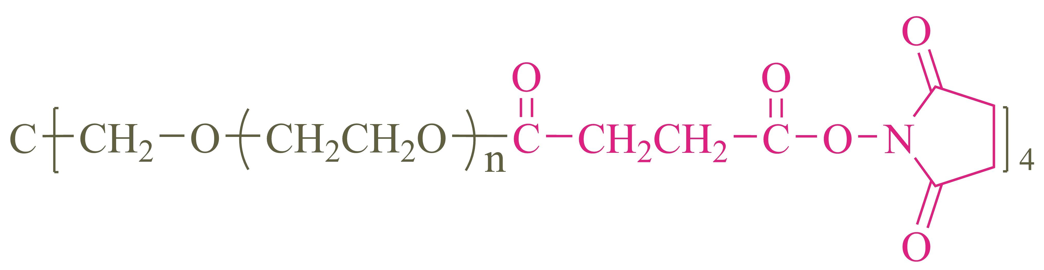 四臂聚乙二醇琥珀酰亚胺琥珀酸酯(酯键)(4-arm PEG-SCM);4-arm Poly(ethylene glycol) succinimidyl succinate