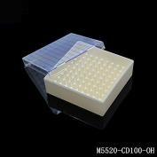 塑料冻存盒(长x宽x高)133x133x55mm, 10x10分格,有孔(for 2ml Tube)