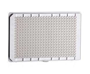 384孔HTS微孔板,Small Volume/LoBase设计,聚苯乙烯,F型底,白色μClear®底,中结合力,非灭菌,无盖
