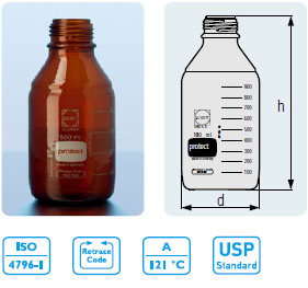 DURAN® 实验室塑料镀膜防爆棕色玻璃瓶 DIN 螺纹