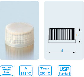 PREMIUM 螺旋盖 TpCh260¹ 倾倒环 ( 类似于PFA) 配PTFE¹ 涂层的硅橡胶密封垫2