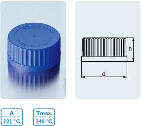快速開啟及關閉螺旋蓋,配DURAN? GLS 80? 口徑 實驗室玻璃瓶,PP1 材質,藍色,具唇形密封