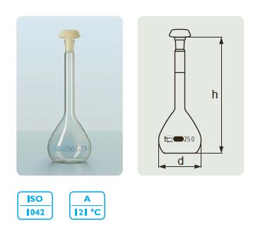 DURAN 容量瓶,A 级,蓝色刻度线,PE 瓶盖