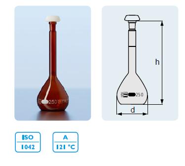 DURAN 容量瓶, 棕色A 级, 白色刻度线