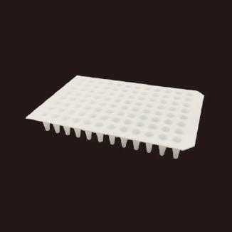 0.1ml 96孔PCR板,无裙边,白色双切角