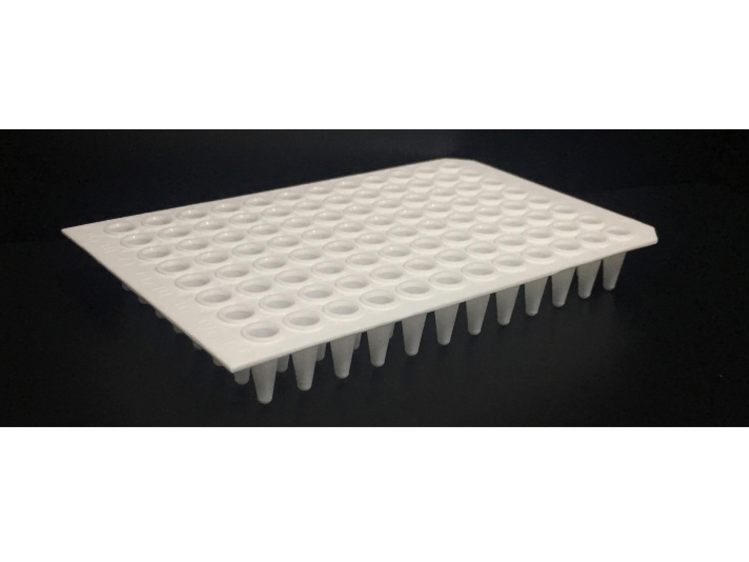 96孔荧光定量PCR板,100 μl白色,无裙边,双切角(A12,H12)