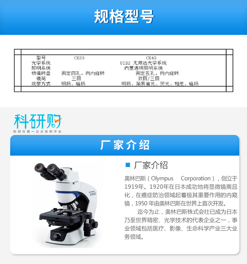 奥林巴斯显微镜CX43技术参数和厂家介绍