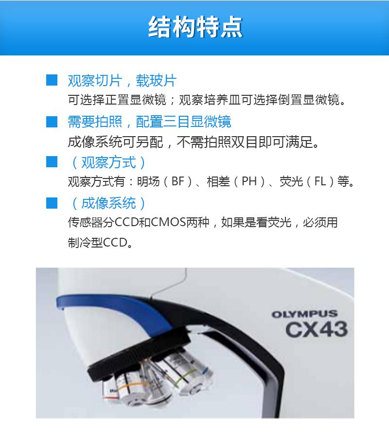 奥林巴斯显微镜CX43结构特点
