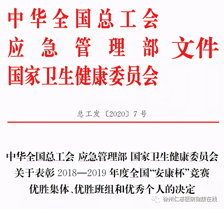 【国字号荣誉】全国安康杯竞赛优胜集体,徐州仁慈医院再获殊荣!