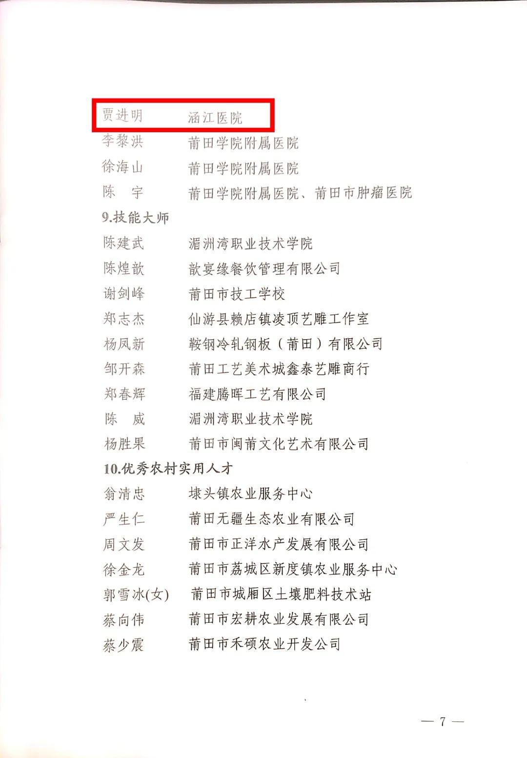莆田涵江医院重症医学科贾进明主任入选莆田市「壶兰英才」