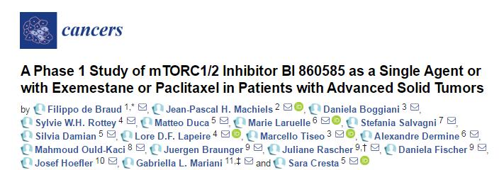 《Cancers》:徐诺药业第三代 mTORC1/2 抑制剂临床