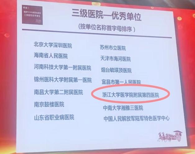 浙中西首家!浙大四院获国家 PCCM 规范化建设认证优秀单位