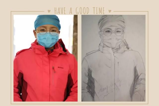 为援鄂十二勇士而画,大内科主任张莉莉的素描作品